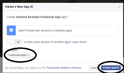 create facebook app android