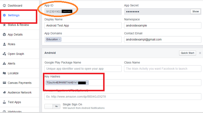 make keyhash setting in facebook